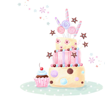 birthday tea: Tea time template design. Illustration made of birthday cake, sweets and cupcake.Bright summer outlines made from tea things. Let\\ Stock Photo