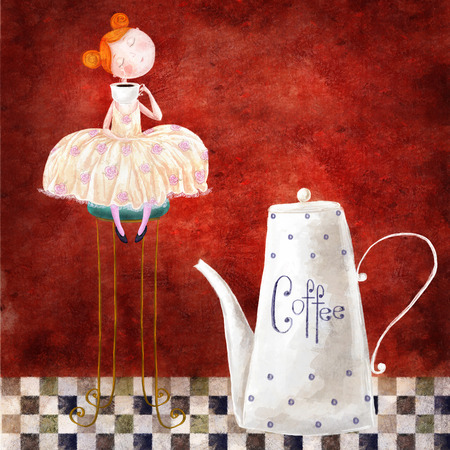 Cute red-head girl with cup of coffee sitting on the chair in the dark red background with big teapot. Print for kitchen, for cafe, for home. Coffee time.