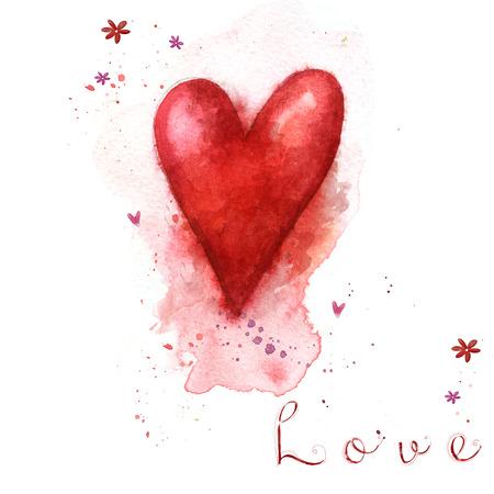 Watercolor painted red heart. Design elements. Retro background. Vintage background. Valentine background. Hand drawn. Grunge heart. Love heart design Foto de archivo