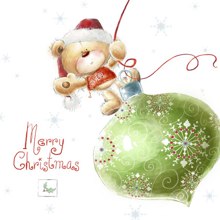 teddy wreath: Cute teddy bear with the big Christmas tree toy  in the Santa hat.Childish illustration in sweet colors.Background with bear and toy. Hand drawn teddy bear.Christmas greeting card.