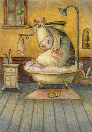 Cute cow in the bathroom washing herself.Vintage background.Children illustration. Cartoon childish background in vintage colors.