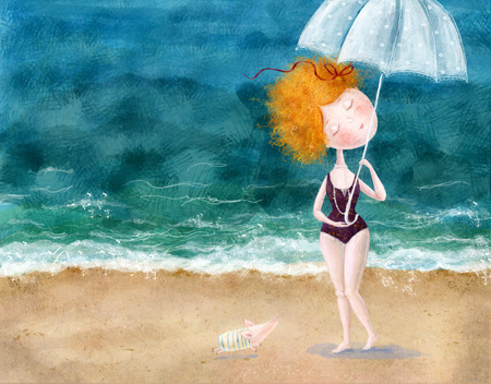 Cute red-head girl with umbrella and little pig on the beach. Sea background.Wallpaper for girl\\\\\\\\\\\\\\\\ Stok Fotoğraf