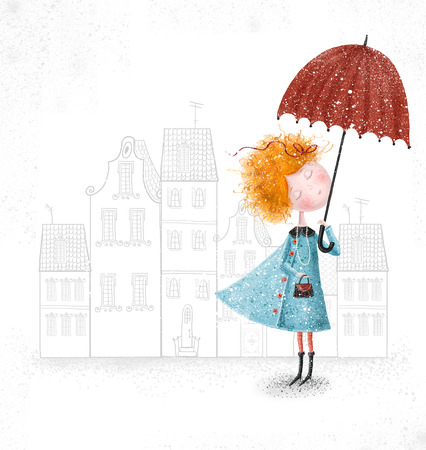 Cute red-head girl with umbrella in blue coat on city background  Banco de Imagens