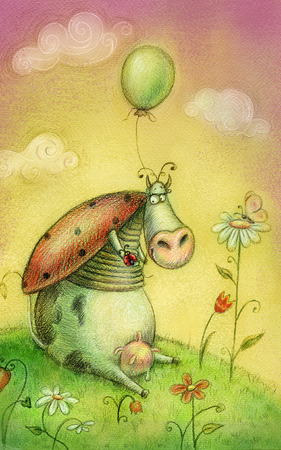 Cute cow with balloon.Vintage background.Children illustration. Cartoon childish background in vintage colors. Imagens