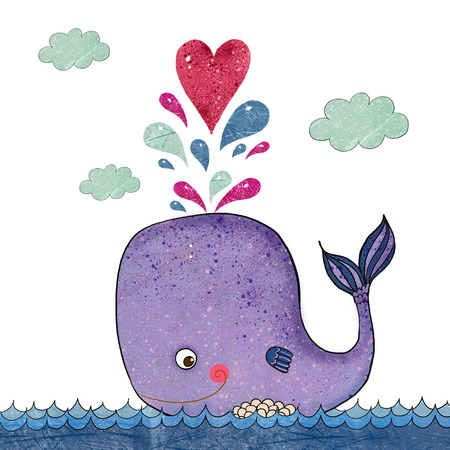 Cartoon  illustration with whale and red heart. Marine illustration with funny whale. Holiday card.