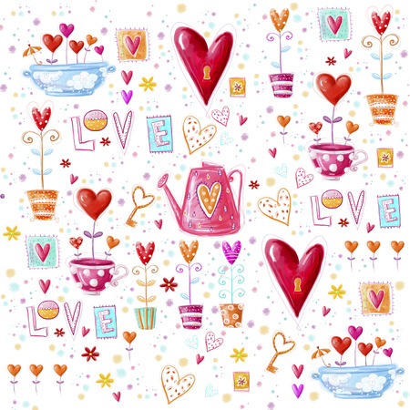Love background made of red hearts, flowers.Seamless pattern can be used for wallpaper, pattern fills, web page background, postcards. Imagens - 34781950