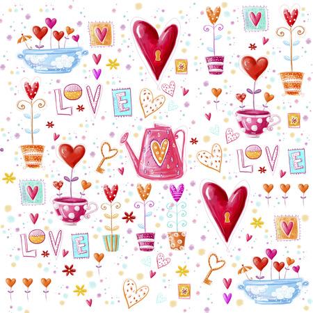 Sfondo amore fatta di cuori rossi, flowers.Seamless modello può essere utilizzato per carta da parati, riempimenti a motivo, sfondo della pagina web, cartoline. Archivio Fotografico - 34781950