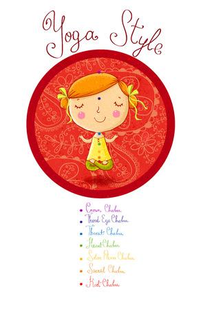 position d amour: Yoga.illustration d'une jolie fille à méditer dans la position de yoga avec les sept principaux chakra.Yoga Studio. Classe de yoga. Yoga lotus pose. Je aime le yoga. Fille mignonne