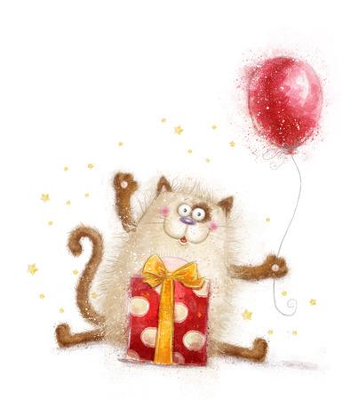 Schattige kat. Verjaardag invitation.Birthday partij. Kat met gift en balloon.Hand getekend kat op witte background.Birthday wenskaart.