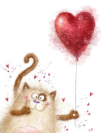 encantador: Ame. Gato bonito com heart.Cat vermelha no dia de love.Valentines postcard.Love background.I amor you.Meeting convite. Banco de Imagens