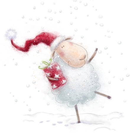 Christmas sheep.Cute sheep with the gift in Santa hat on snow background.Christmas greeting card.Happy New Year.