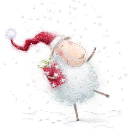 ovejas: Ovejas sheep.Cute Navidad con el regalo en el sombrero de Santa en background.Christmas nieve saludo card.Happy A�o Nuevo.
