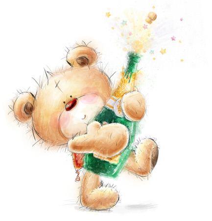 popping cork: Cute Teddy Bear with the bottle of close -up champagne.Party invitation.Happy Birthday greeting card.Celebration theme with splashing champagne.Champagne Explosion. Stock Photo