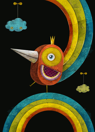 Iron bird.Fire bird in crown on the rainbow.Concept design for poster,flayer,business,cover brochure ,abstract background