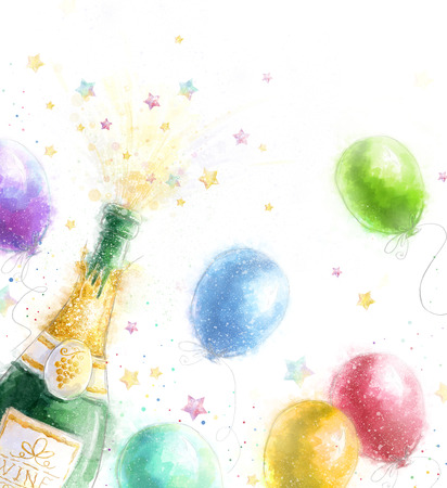 champagne toast: Champagne party. Celebration theme with splashing champagne balloons and stars.Happy Birthday.New Year.Party invitation.Birthday greeting card.