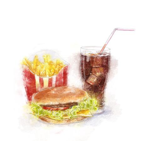 cheeseburger: Fast food menu.Big hamburger, ice cola and French fries.Food illustration for menu, cafe, restaurant Stock Photo