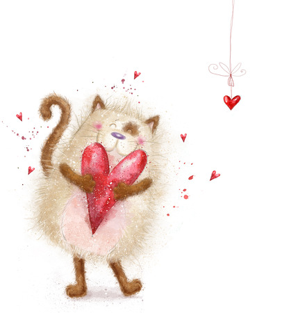 Ame. Gato bonito com heart.Cat vermelha no dia de love.Valentines postcard.Love background.I amor you.Meeting convite. Banco de Imagens