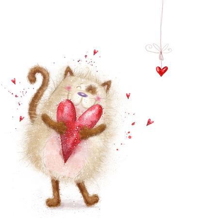 gato caricatura: Amor. Gato lindo con heart.Cat rojo en día love.Valentines postcard.Love background.I encantará you.Meeting invitación.