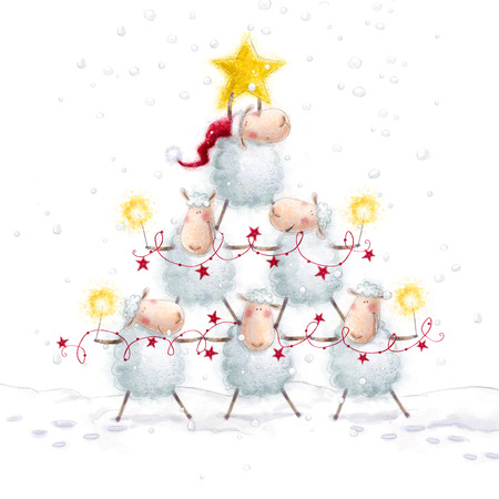 Christmas sheep.Christmas Tree with Star made of cute sheep.New Year greeting cards.Christmas background.Cartoon funny sheep with Bengal lights and festoon lights.Christmas illustration