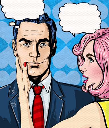 comics: Pop Art couple conversation.Love couple.Pop Art love. Valentines day postcard. Hollywood movie scene.Real love.First kiss. Movie poster. Comic book love. Comic first kiss. I love you. Speech bubble. Stock Photo