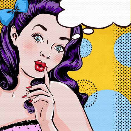 Pop-Art-Illustration der Frau mit dem Sprach bubble.Pop Art Mädchen. Party Einladung. Geburtstagsgrußkarte. Pop-Art girl.Hollywood Film star.Vintage Werbeplakat. Comic Mädchen mit Sprechblase