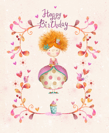 pink dress: Awesome Happy birthday card in cartoon style. Cute small princess with cup of tea in flowers, hearts, birds. Childish card in sweet colors.Little Princess.Birthday greeting card.Party invitation.