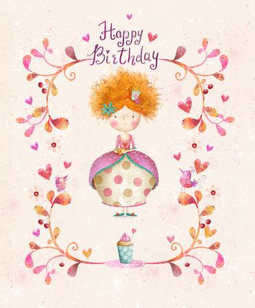 flores de cumpleaños: Impresionante tarjeta de cumpleaños feliz en estilo de dibujos animados. Pequeña princesa linda con la taza de té en flores, corazones, pájaros. Tarjeta Infantil en dulce colors.Little Princess.Birthday invitación card.Party saludo. Foto de archivo