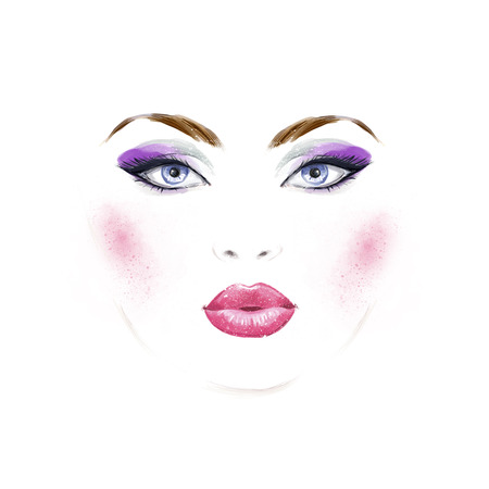 female face closeup: Makeup artist.Woman portrait .Abstract watercolor .Fashion background. Fashion girl.