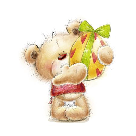 Teddybeer met Pasen egg.Postcard met beer en paasei. Gelukkig Easter.Hand getrokken teddybeer die op witte background.Easter wenskaart. Pasen Stockfoto