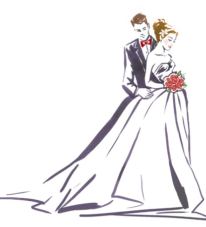 婚禮: 夫婦婚禮新娘hugging.Silhouette和groom.Wedding invitation.Wedding card.Wedding background.Love夫婦。 版權商用圖片