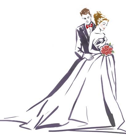 svatba: Svatební pár hugging.Silhouette nevěsta a groom.Wedding invitation.Wedding card.Wedding background.Love pár.