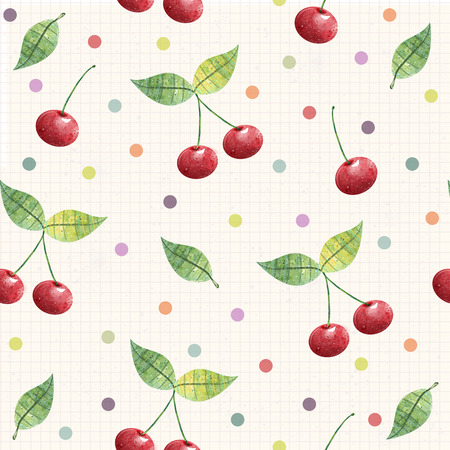 Cherry seamless pattern. background, pattern, fabric design, wrapping paper, cover.Birthday background