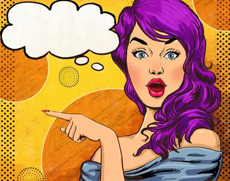 comic: Ilustraci�n del arte pop de la muchacha con el discurso bubble.Pop Arte chica. Invitaci�n de la fiesta. Saludo de cumplea�os card.Hollywood pel�cula cartel publicitario star.Vintage. Mujer de la manera con la burbuja del discurso. Sexy