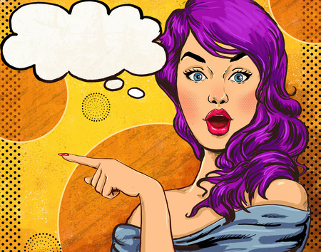 pin up: Pop Art illustration of girl with the speech bubble.Pop Art girl. Party invitation.