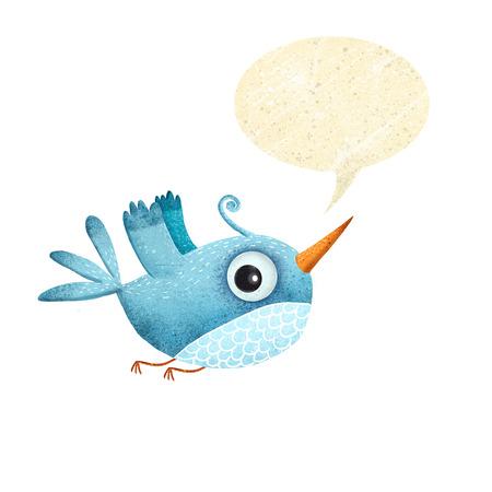 吹き出しと青い鳥。さえずる鳥。