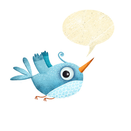 Blue bird with speech bubble.Tweet bird.