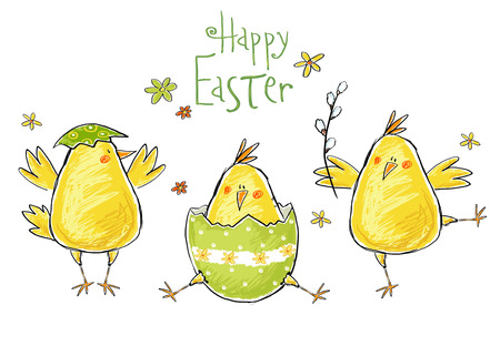 Happy easter greeting card. Cute chicken with text in stylish colors. Concept holiday spring cartoon greeting card.Congratulation with Easter 免版税图像