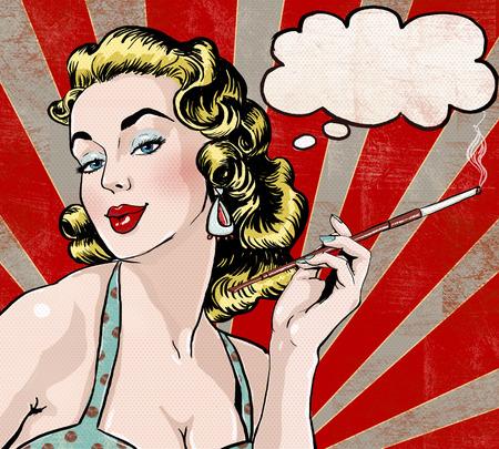 吹き出しとタバコの女性のポップアート イラスト。ポップアートの女の子。パーティの招待状。誕生日グリーティング カード。ハリウッドの映画ス 写真素材