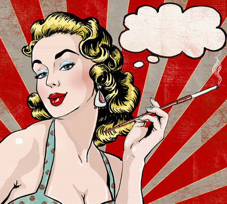 pin up vintage: Pop Art illustrazione della donna con il fumetto e cigarette.Pop Arte girl.Party invitation.Birthday film saluto card.Hollywood star.Vintage manifesto pubblicitario. Comic donna con la nuvoletta. Archivio Fotografico