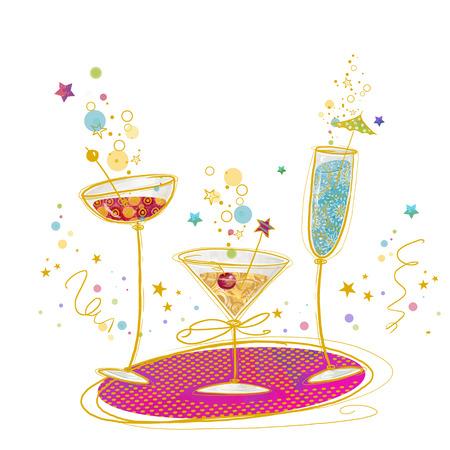 festa: Convite do cocktail Poster.Hand ilustração desenhada de cocktails.Cocktail vidro. Bar de coquetéis. convite do aniversário.