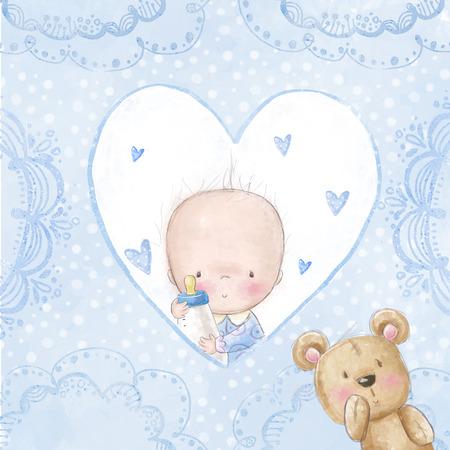teteros: Baby shower saludo card.baby muchacho con el oso, amor de fondo para la invitaci�n children.Baptism. Dise�o de tarjeta de reci�n nacido. Dise�o de portada de �lbum de fotos reci�n nacido. Su tarjeta de una ni�a Foto de archivo