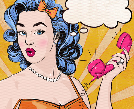 retro lady: Pop Art illustration of woman with the speech bubble ant retro telephone.Pop Art girl. Party invitation. Birthday greeting card.Call me. Cute girl surprised by the call. Vintage pop art poster. Stock Photo