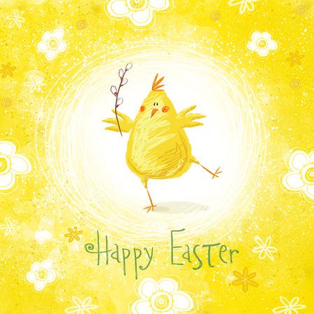 pollo: Tarjeta de felicitación de Pascua feliz. Pollo lindo con el texto en colores elegantes. Vacaciones concepto card.Congratulation saludo de dibujos animados de primavera con Pascua
