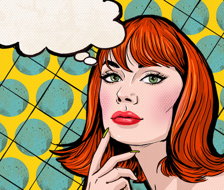 thinking woman: Pop Art illustration of girl with the speech bubble.Pop Art girl.Party invitation.Birthday greeting card.