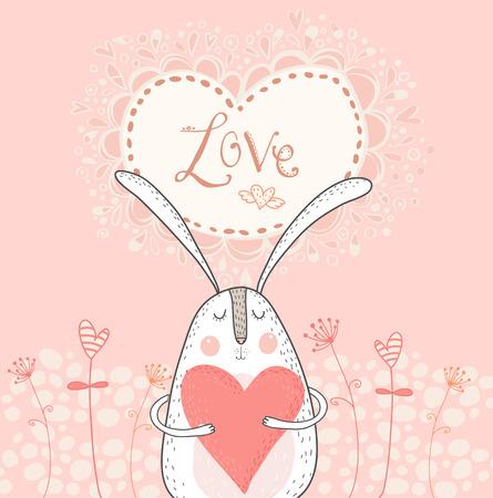Lief konijntje met rode heart.Love achtergrond. Konijn in de liefde. Vector Valentijnsdag briefkaart. Vector konijn met hart. Saint Valentijnsdag kaart. Vector konijn. Vector hart. Ik hou van je kaart.
