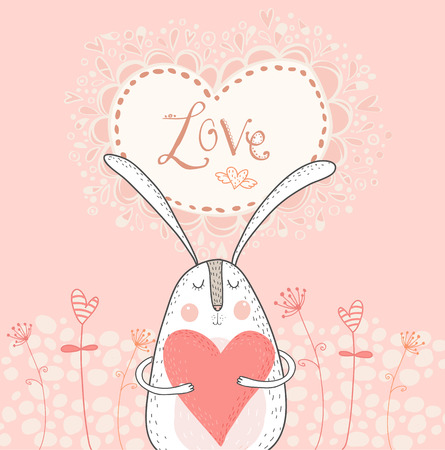 fall in love: Love bunny with red heart.Love background. Rabbit in love. Vector valentines postcard. Vector bunny with heart. Saint valentines day card. Vector rabbit. Vector heart. I love you card.
