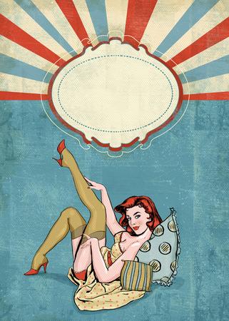 chicas sonriendo: Pin encima de la ilustración de la mujer con el lugar para text.Pin up girl. Invitación de la fiesta. Cumpleaños tarjeta de felicitación card.Vintage saludo Foto de archivo