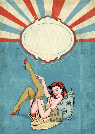 modern girls: Pin up illustration of woman with the place for text.Pin up girl. Party invitation. Birthday greeting card.Vintage greeting card