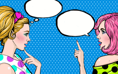 Pop Art girls with speech bubble. Party invitation. Birthday greeting card.Vintage advertising poster. Comic woman with speech bubble. Sexy  girls. Gossip girls with speech bubbles. 写真素材