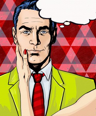 吹き出しで女性の手でコミック男。ポップアートの男。吹き出しの男。